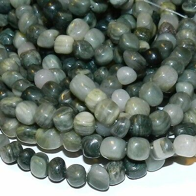 """NG1373 Green Line Jasper Small 4mm - 7mm Polished Nugget Pebble Beads 16"""""""