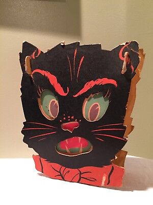 Antique CAT PAPER LANTERN Halloween Cardboard & crepe paper Art Deco dual-sided