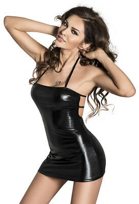Minikleid schwarz Negligee String Wetlook Gogo Party Reizwäsche Damen Kleid