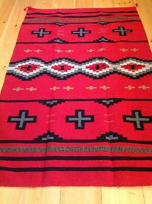 Navajo Design/Southwestern Acrylic Rug or Wall Hanging 4  x  6FT Red Black Gray