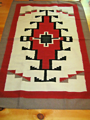Navajo Design ,Southwestern Wool Rug or Wall Hanging 4 X 6 White Red