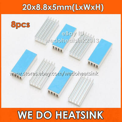 8pcs DIY 20x8.8x5mm Aluminum Heat Sink Chip Radiator Cooler With Thermal PAD