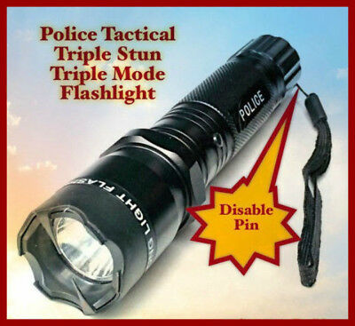 Metal Police Stun Gun 990 Million Volt 4.5 Milliamps Rechargeable LED Flashlight
