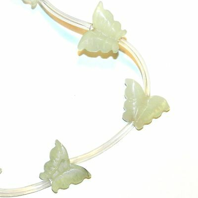 NG2630 Sea Green New Jade 12mm - 16mm Butterfly Serpentine Gemstone Beads 14pc