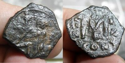 75  Byzantine - Heraclius 610-641 A.d. - *front Double Struck* - Ae Folles