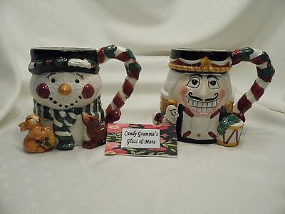 Tis' The Season 3D Holiday Ceramic Mugs Nutcracker and Snowman Set of Two
