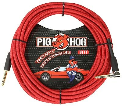 Pig Hog Candy Apple Red 20' Instrument Cable 1/4 Straight & Right Angle Conn