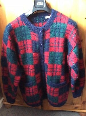 Tartan Hand Knitted Cardigan 80s Mohair Large