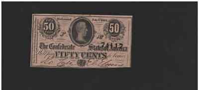 1864 Fractional 50 Cent Confederate States Note Civil War Currency Money T-72