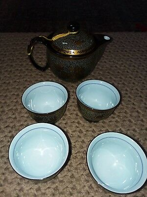 Tea Set, gold and brown Asian Style Teapot and Cup Set dragon design