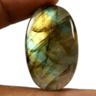 37.10 cts Natural Labradorite Flashing Untreated Gemstone Oval Loose Cabochon