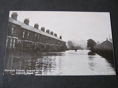 Postcard - Norwich Flood 27 August 1912 - Carrow Road  Unposted