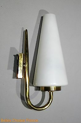Vintage french mid century sconce lamp fixture gold brass With genuine glass
