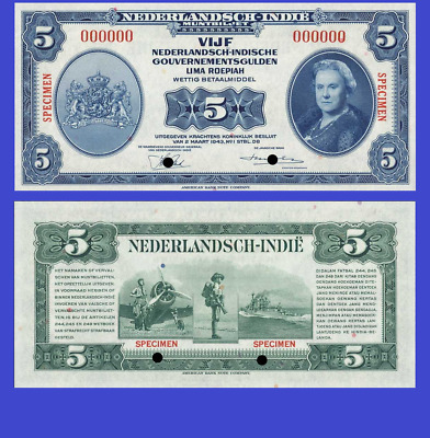 NETHERLANDS INDIES 5 GULDEN 1943 UNC - Reproduction