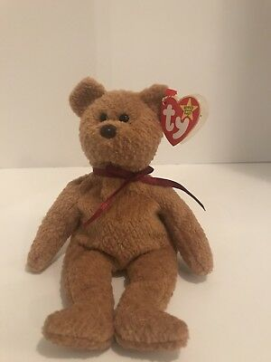 29f0aa1d9ee Rare Retired Curly The Bear Original Beanie Baby Ty Tag Several Tag Errors