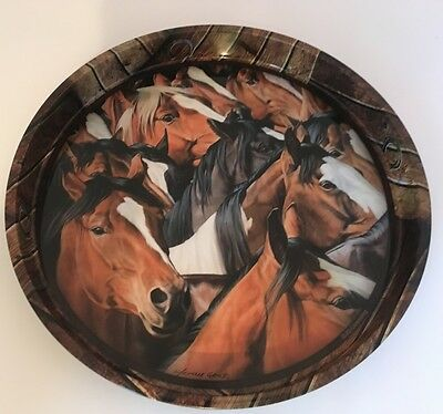 """Metal Serving Tray Set Horse Michelle Grant Mustangs 12"""" 14"""" Rivers Edge Western"""
