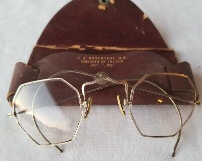 Vintage Ornate Silver Tone Metal Octagon Wire Glasses