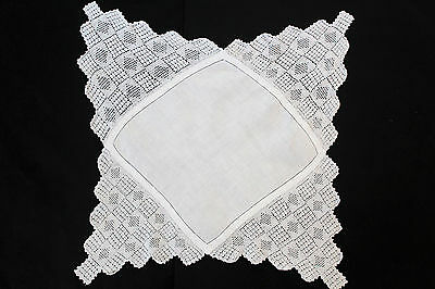 Vintage white linen cloth with deep crochet edge.