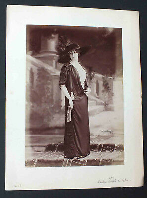 Mata Hari ? Ancienne Photographie De Mode Reutlinger 1910 - Manteau Souple Satin