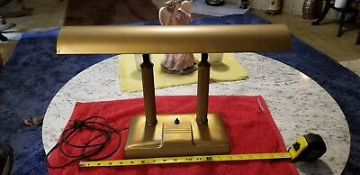 Vintage Art Deco Bankers Piano Desk Lamp 2 Greek Style Pillars