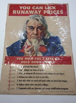 RARE ORIGINAL WWII JM FLAGG UNCLE SAM POSTER O.W.I. You Can Lick Runaway Prices