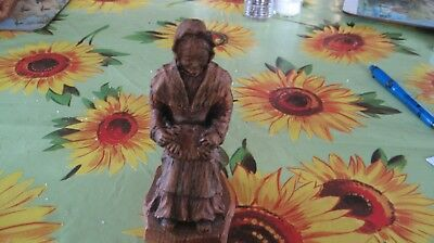 Black Forest carving of old Lady with lace cushion on her lap Lacemaker