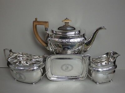SUPERB GEORGE III STERLING SILVER TEA SET with STAND - LONDON 1805,1806 - 1014g
