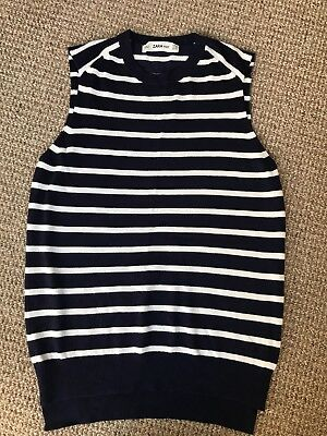 Bnwt Zara Knit Classic Navy And White Stripe Top Small