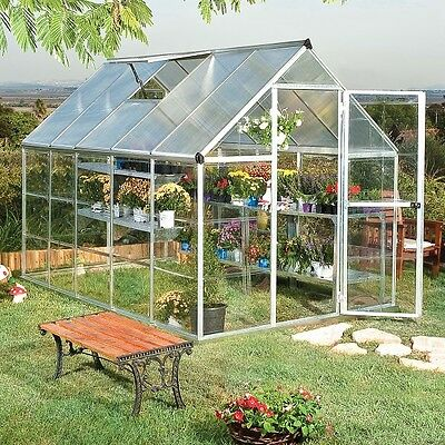 6x10 Greenhouse Aluminum Frame All Weather Walk-In Nursery Polycarbonate Panels