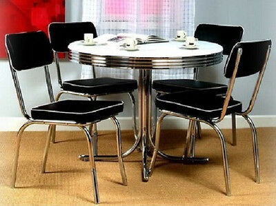 Black Retro 5 Piece Dining Set Round Chrome Kitchen Table 4 Chairs  50s Style