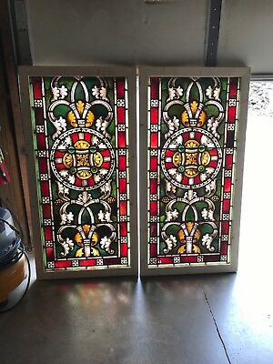 Sg 2563 5 Av Price each antique painted fired stained glass window 29 x 57.25