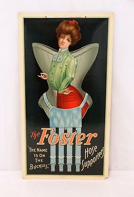 1900's ANTIQUE ADVERTISING SIGN CELLULOID Lady's Foster Hose Supporters Corset