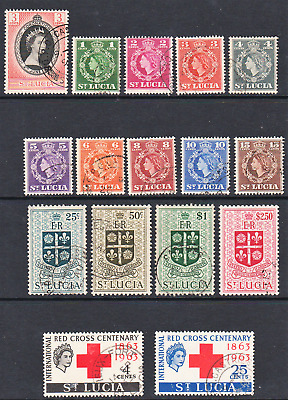 ST LUCIA. 1953-54. EII 1st DEFINITIVE SET+ RED CROSS,CORONATION. VFU. Sg171-84+.