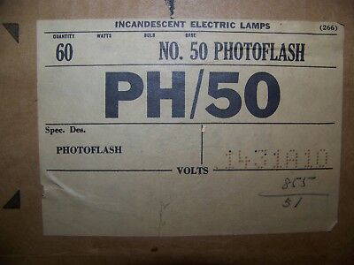 General Electric No. 50 Flashbulbs-60-bulbs-100,000-Lumens for cave photos.
