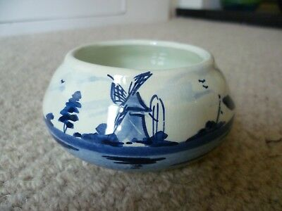 Vintage Blue & White Delft Holland Flat Bowl - PERFECT!