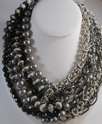 STATEMENT White Gray Gun Metal Silver Tone Byzantine Tone BIB CHUNKY NECKLACE