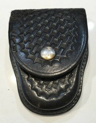 Bianchi #35 Black Basketweave Leather handcuff Belt Holder Case
