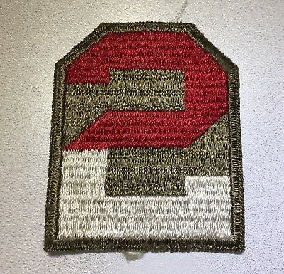 Original WWII U.S. 2nd ARMY WHITE BACK CUT EDGE FULL COLOR PATCH