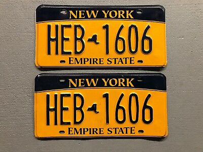 New York Empire State License Plate Pair Gyp-7068  Free Shipping!!