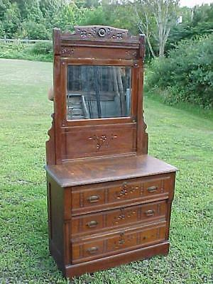 Victorian Eastlake Chip Carved 3 Drawer Dresser & Mirror Oak Ash Original Finish