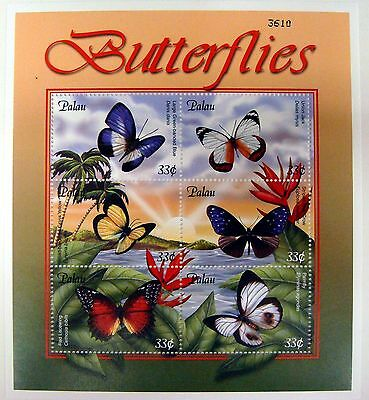Butterfly Stamps Sheet Palau Mnh 2000 Butterflies Insect Moth Palmfly #598