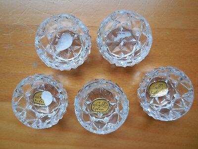 Vintage Bohemia Glass Open Salt Cellars, Lot of 5, Czechoslovakia