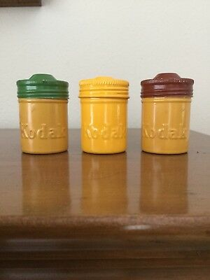 Vintage Lot Of 3 Metal Kodac Film Containers Canisters