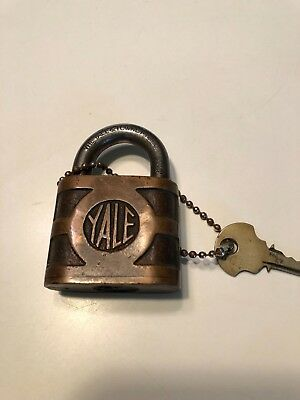 VINTAGE ANTIQUE YALE & TOWNE MFG CO Padlock BRONZE BRASS WITH KEYS