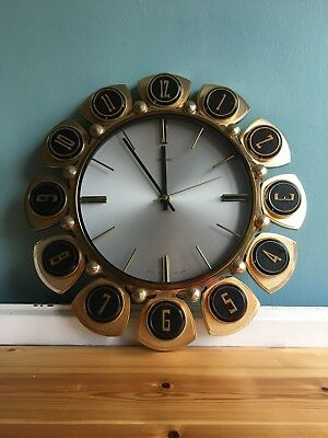 Vintage Mid Century Metamec Wall Clock Stylised Numerical Sunburst Fully Working