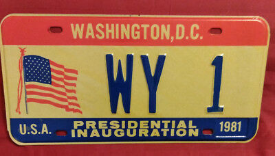 1981 District Of Columbia Wy-1 Wyoming Inaugural License Plate