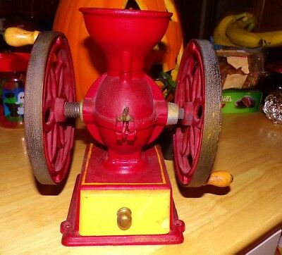 Vintage Red Cast Iron John Wright Double Wheel Coffee Mill Grinder