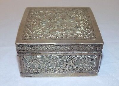 Antique Anglo-Indian Colonial Silver Box Elephant / Dog / Bird Relief Decoration