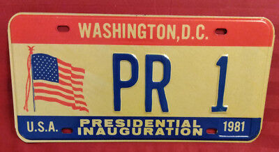 1981 District Of Columbia Pr-1 Puerto Rico Us Territory Inaugural License Plate