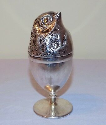 Antique Silver or EP Silver Egg Cup & Cover in form of Chicken with Glass Eyes